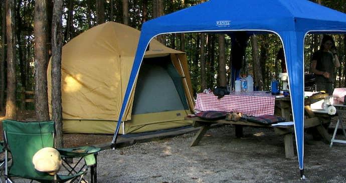 Camping under shade