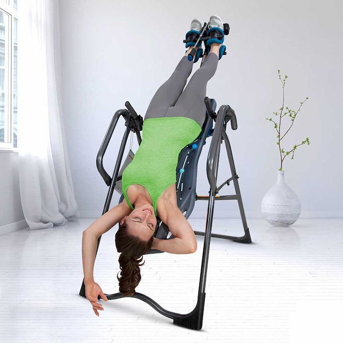 girl on inversion therapy table