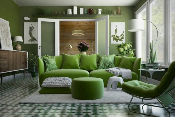 Comfy green living room furniture