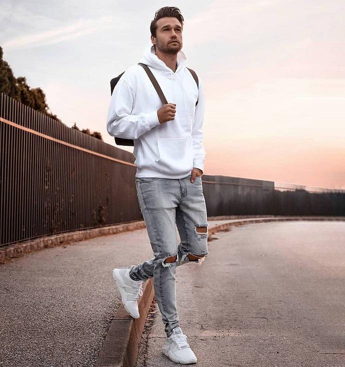 hoodie grey pants white sneakers