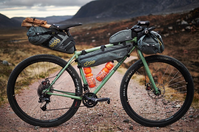 Close up picture of off road bike with bags