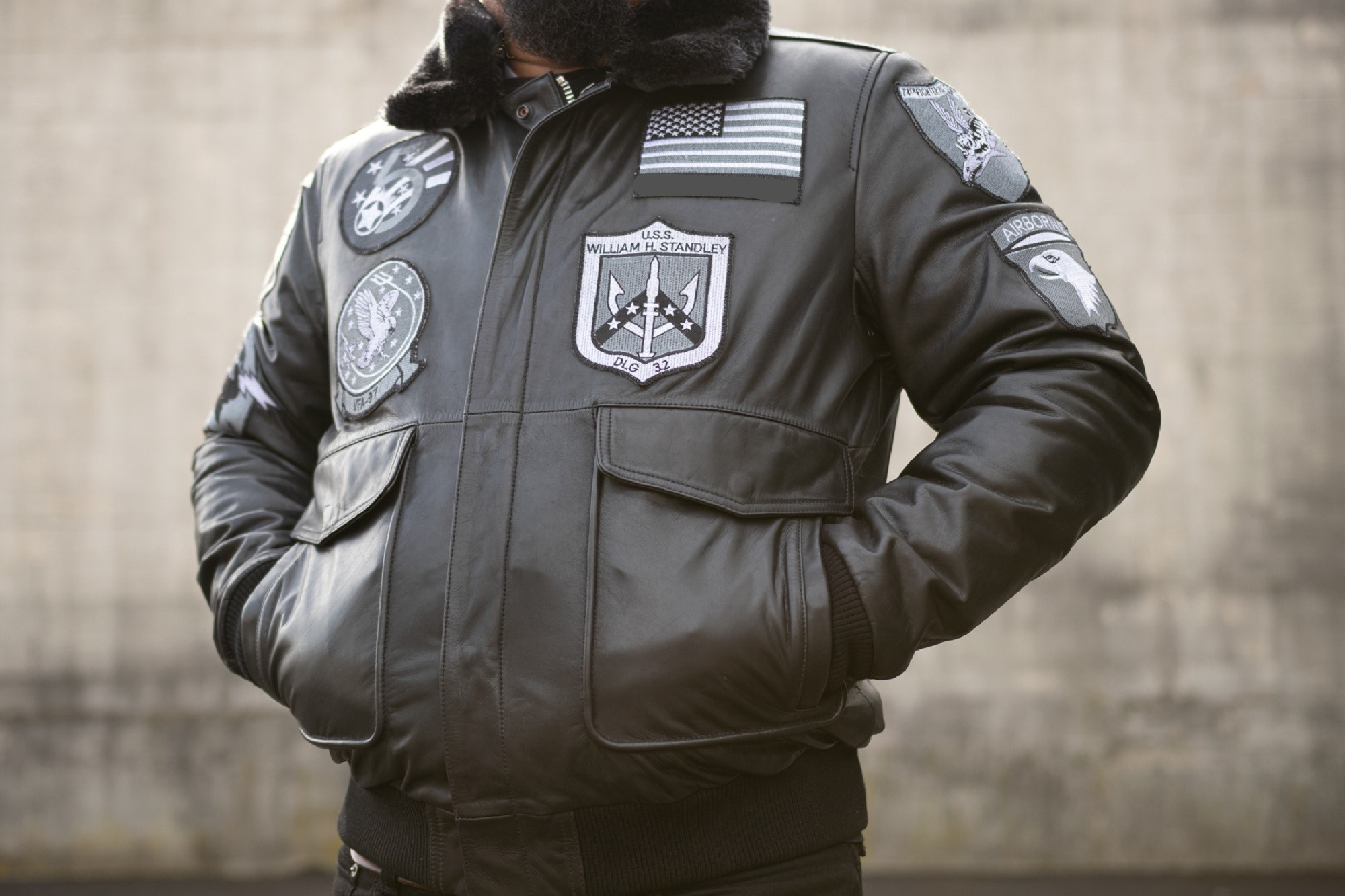 Leather Bomber Military Jacket