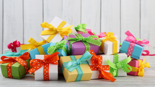 birthday gifts in different colours