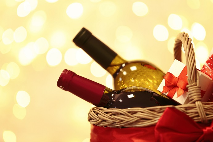 gift basket with bottles of wine